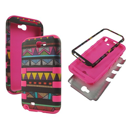 Hybrid Pinkstrip Multi Triangle For Samsung Galaxy Note 2 , II N7100, T889 Sprint , Verizon , at&t Box 3 in 1 High Impact Shock Defender Plastic Outside with Soft Silicon Snap On Cover Case (Pinkstrip Multi Triangle)
