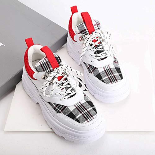 Da Donna 37 Scarpe Plaid B Casual Pizzo Di a Scarpe top Yan Running Piattaforma Moda Tessuto In Ginnastica Up Pelle Sneakers Low Formazione EgwZBS1q