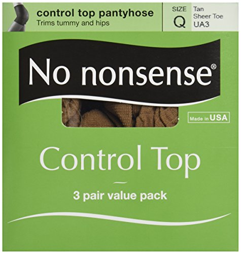 Nonsense Value Pack - No Nonsense Tan Size Q Sheer Toe Control Top Value Pack Pantyhose, 3 ct