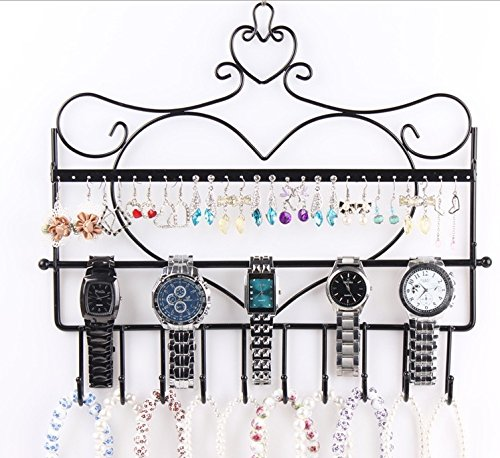 BLUETTEK Classic Black Wall Mount Jewelry Holder, Jewelry Stand Shelf for Earrings / Necklaces / Brecelets