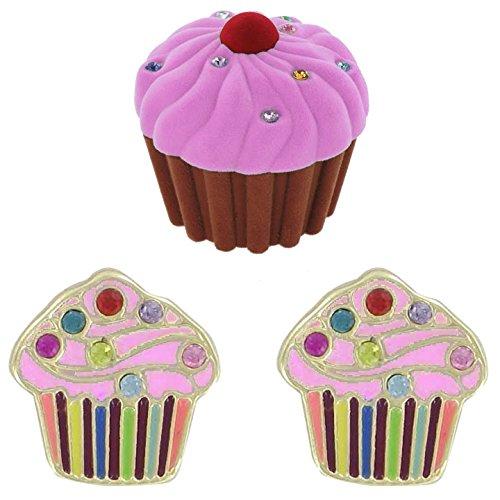 Cupcake Pierced Earrings w/ Crystal Sprinkles in Cupcake Velour Gift Box - Pink