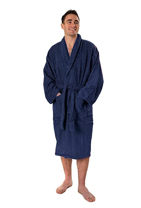 641adb4d85 TowelsRus 100% Egyptian Cotton Shawl Collar Unisex Dressing Gown Toweling  Medium Navy Blue Bathrobe  Amazon.co.uk  Kitchen   Home