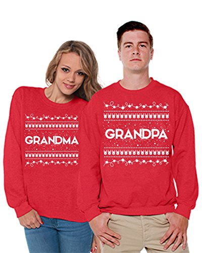 Awkward Styles Christmas Couple Sweater Grandma Grandpa Family Sweatshirt Couples Matching Outfits Red Red Men X-Large/Ladies (Gangsta Couple Costume)