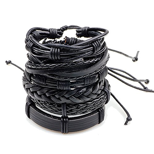 HuntGold 6Pcs/Set Unsex Adjustable Braided Wax Rope Leather Bracelet...