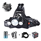 Smiling Shark 5000 Lumen Super Bright LED Headlamp, 4 Modes Waterproof Headlight, Rechargeable 18650 Batteries, Charger, Bicycle Clip Outdoor Sports