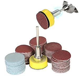 """Promisy 100PCS 2 inch Sanding Discs Pad Kit for Drill Grinder Rotary Tools,with Backer Plate 1/4"""" Shank Includes 80-3000 Grit Sandpapers"""