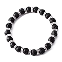 Perepaix RAVE Mens Bracelet Shamballa Black Lava Beads with Feather Charms