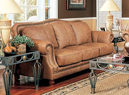 Amazon.com: Caramel Color Leather Sofa Couch Chair w/Nail Head ...