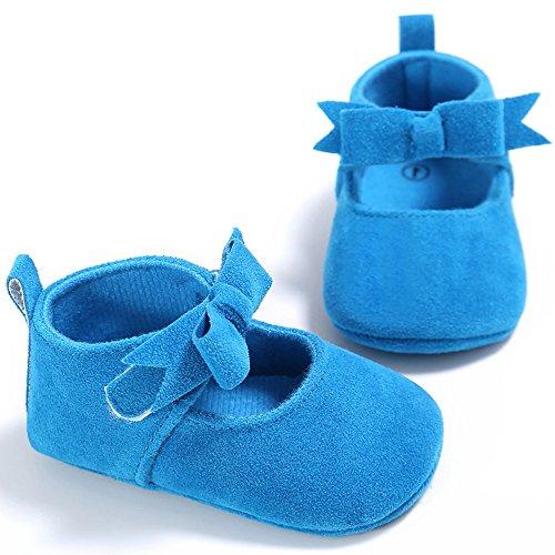 ESTAMICO Neugeborene Baby Mädchen Weiche Sohle Bowknot Schuhe Kleinkind Prewalker Sneakers Blau