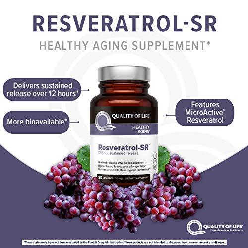 Quality of Life - Powerful Anti Aging - All Natural Formula Resveratrol SR - 30 Vegicaps
