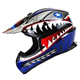 1Storm Adult Motocross Helmet BMX MX ATV Dirt Bike Downhill Mountain Bike Helmet Racing Style HKY_SC09S; Shark Blue