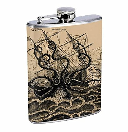 Stainless Steel 8oz Hip Silver Flask Kraken Pirate Ship 2A Drinking Whiskey -