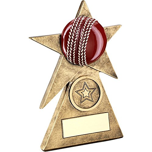 Lapal Dimension BRZ/GOLD/RED CRICKET STAR ON PYRAMID BASE TROPHY - (1in CENTRE) - 4in by Lapal Dimension