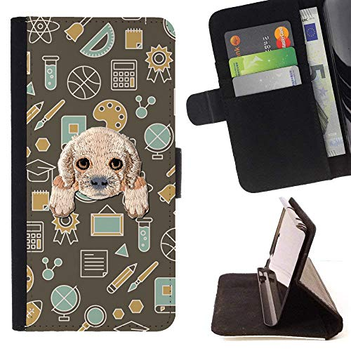 [ Cocker Spaniel ] Embroidered Cute Dog Puppy Leather Wallet Case for LG V30 [ Science Paint Rugby Pattern ]