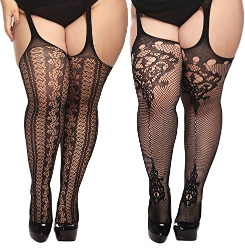 TGD Womens Plus Size Stockings Suspender Pantyhose Fishnet Tights Black Thigh High Stocking 2 Pairs Fit US 8-16 (Black 05)