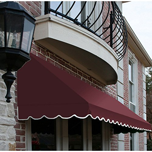 Awntech 8-Feet San Francisco Window/Entry Awning, 56-Inch Height by 36-Inch Diameter, Burgundy (Striped Awning Red)