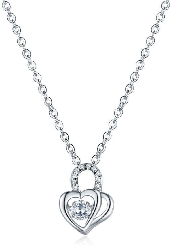 wuligeya circón Incrustaciones de Micro Amor San Valentín en Forma de corazón Collar de Plata 925