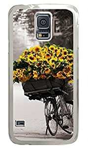 Transparent Fashion Case for Samsung Galaxy S5 Generation Plastic Case Cover for Samsung Galaxy S5 with Sunflower