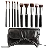 KDKD Makeup Brushes 10 Pieces Premium Makeup Brush Kit Synthetic Kabuki Cosmetics Foundation Eyeliner Face Powder Lip Blush with Blender Sponge Brush Egg Mesh Protector Into a Black PU Case