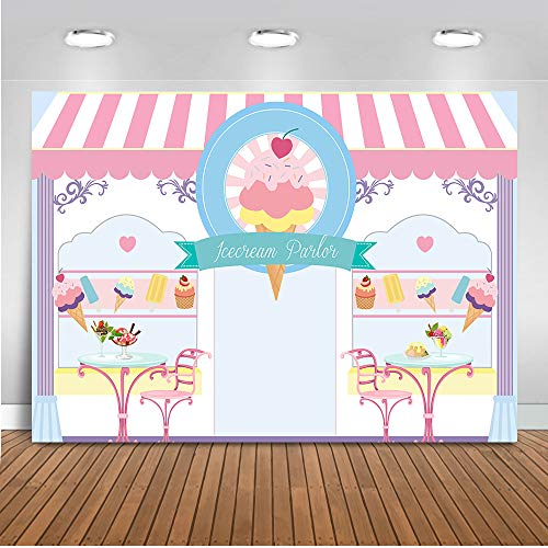 Mehofoto Ice Cream Parlor Backdrop Ice Cream Theme Birthday Photography Backdrop 7x5ft Vinyl Ice Cream Shop Baby Shower Party Banner Backdrops ()
