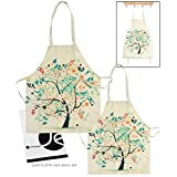 JAVOedge Mommy and Me (2-4 Yrs.) Blue Tree Apron Matching Set Cooking or Baking Apron and Great Gift for Mother and Kids