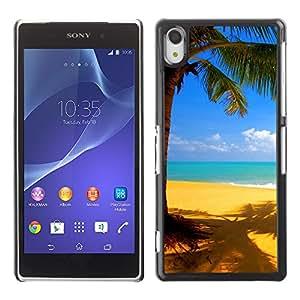 Paccase / SLIM PC / Aliminium Casa Carcasa Funda Case Cover - Yellow beach - Sony Xperia Z2 D6502 D6503 D6543 L50t L50u