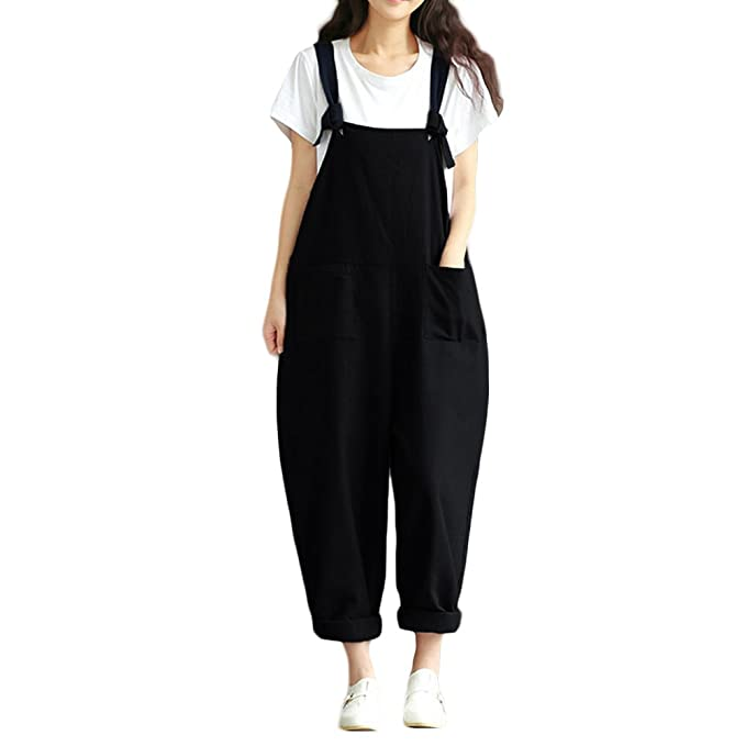 1ce063909da7 Romacci Women Loose Baggy Dungarees Casual Cotton Linen Jumpsuit Playsuit  Solid Color Baggy Rompers Overalls