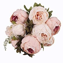 JAROWN 9 Heads Silk Vintage Peony Artificial Flowers Bouquet for Party Wedding Room Decoration(Light pink)