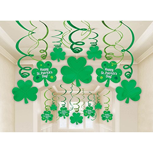 Pack of 30 St Patrick's Day Decorations - Shamrock Clover Saint Irish Party Hanging Supplies by Sogorge