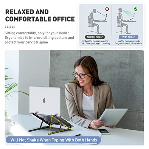 Portable Laptop Stand Adjustable Aluminium Alloy Laptop Stand Foldable Ventilated for MacBook and Notebook Black