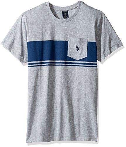 U.S. Polo Assn. Men's Short Sleeve Solid Classic Fit Pocket T-Shirt, Light Heather Gray, L (Classic-fit Polo Pocket Tee)