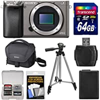 Sony Alpha A6000 Wi-Fi Digital Camera Body (Graphite) with 64GB Card + Case + Battery + Tripod + Kit