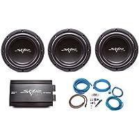 Skar Audio 3x VVX-8v3 D4 800 Watt Subwoofers with RP-800.1D Monoblock Sub Amplifier and 4 Gauge Amp Kit