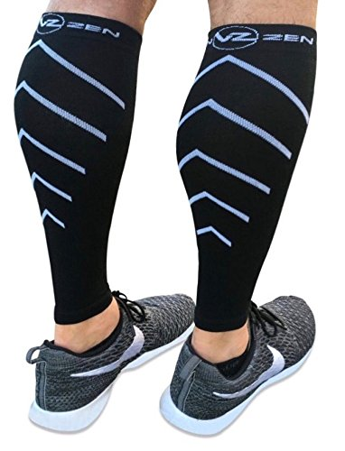 Calf Compression Sleeves - Footless Leg Muscle Support Compression socks Men or Women - Improve circulation for Shin Splint, Calf Pain Recovery, Running, Cycling, Travel, Pregnancy (Large, - Again Apparel Faster