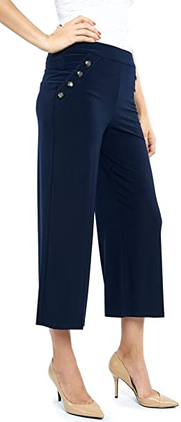 49228cd28d01e3 Joseph Ribkoff Midnight Blue Cropped Pants with Accent Buttons Style 172093  - Size 12