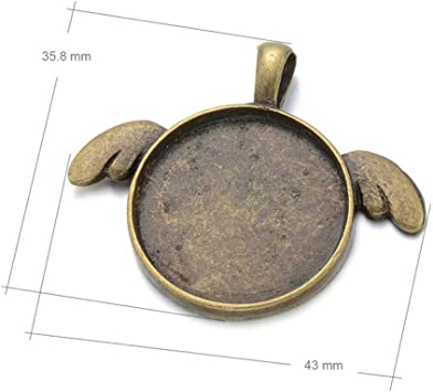 Bronze 20pcs Wings Love 25mm 1inch Round Bezel Pendant Trays with 20pcs 25mm 1inch Half Round Glass Dome Tiles Cabochon for Crafting DIY Jewelry Making