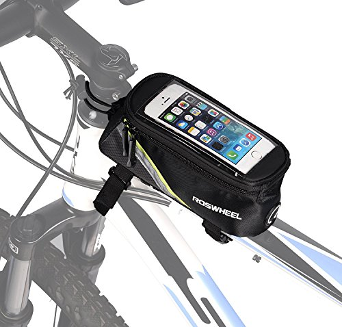 ArcEnCiel Bicycle Frame Bag Bike Front Tube Handlebar Bag Cycling Pack with Touch Screen Phone Case (Green Line)