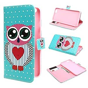 LCJ Big Eye Owl Wallet PU Leather Stand Case Cover with Stand and Card Slot for iPhone 6 Plus