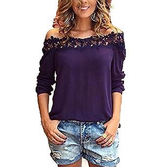 Amazon.com: GigaMax(TM) Fashion Women Sexy Ladies Chiffon Lace Crochet Slash Neck Blouse Shirts Casual Solid Plus Size Blusas Femininas: Clothing