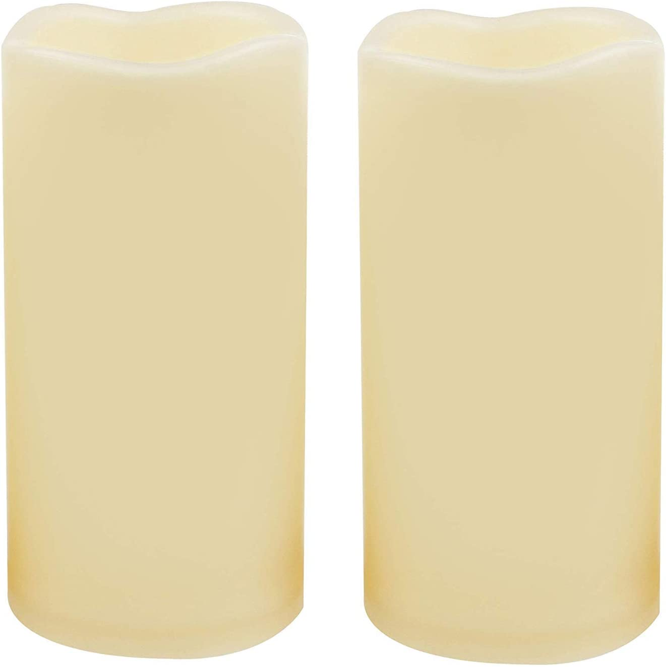 2 Waterproof Outdoor Battery Operated Flameless LED Pillar Candles with Timer Flickering Plastic Resin Electric Decorative Light for Lantern Patio Garden Home Decor Party Wedding Decorations 3x6 Inch