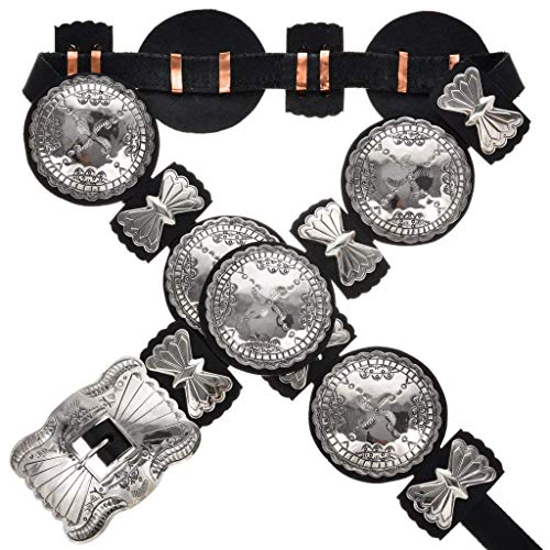 Native American Silver Concho Belt Traditional Hammered Patterns 0446