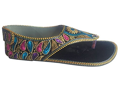 Sandal Saree Traditional Style Flat n Step Punjabi Multicolor Khussa Jutti Ladies Shoes Ethnic WYWv6a