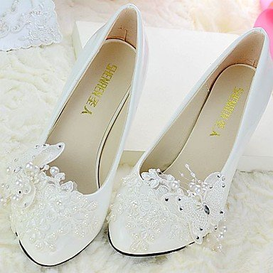 UK3 amp;Amp; Wedding Wedding Bowknot Slingback US5 EU35 Spring Dressrhinestone Evening Career Women'S Beading Pu Shoes Office amp;Amp; Party Fall Lace Applique CN34 RTRY vw15fqW