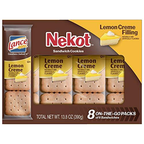 Lance Cookie Sandwiches, Lemon Crème Nekot, 8 Count Boxes (Pack of 14)