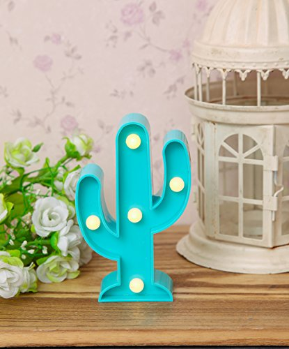 Cactus LED Night Lights Table Lamp - Baby Blue - Home Decor for Kids' Room Cute Wall Decor Party Gifts Signs