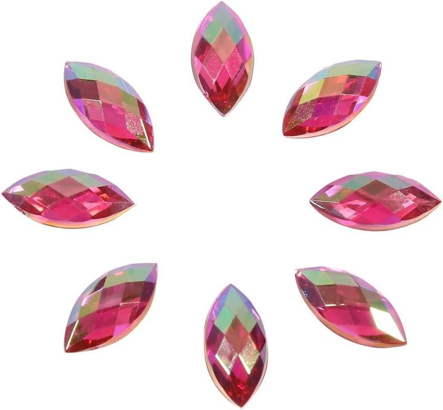 500pcs AB piedras brillantes acrílico Rhinestone de coser con ojo de caballo para accesorios decoración de ropa, 08rose Clair