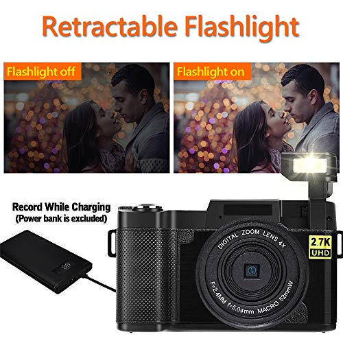 Digital Camera Camcorder WiFi Video Camcorders Vlogging Camera Full HD 2.7K 24MP 3.0 Inch 180 Degree Rotation Flip Up Screen Cameras for YouTube with Retractable Flash Light