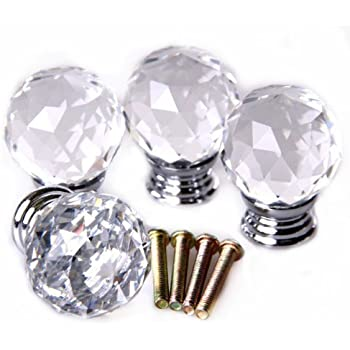 beiyi 4pcs vintage glass door knobs sets 118 inch clear acrylic crystal in diamond shape ideal