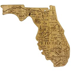 Celebrate life in The Sunshine State with the Totally Bamboo Florida State Destination Bamboo Serving and Cutting Board. This beautifully crafted board is shaped in the outline of the great state of Florida and features fun, laser-engraved ca...