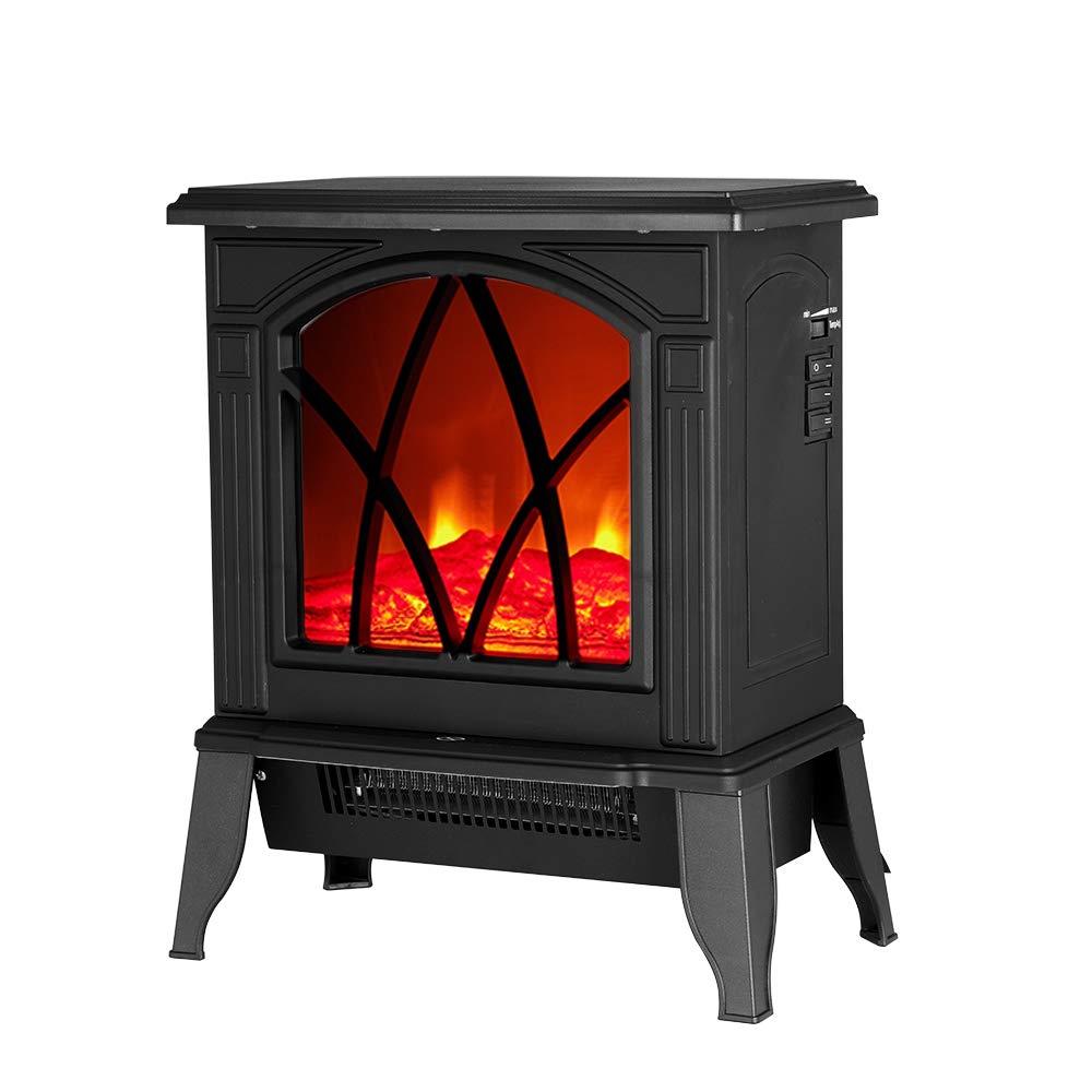 Electric Fireplace Fire Log Wood Burning Flame Effect - Adjustable Thermostat & Freestanding - Black Targos